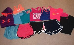 Youth Girl Medium 10 12 Under Armour Nike T-Shirts Tops Shorts Hoodie Outfit Lot