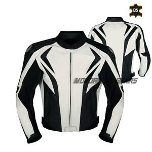 Men Black and white leather jacket sports bike jacket racing armoured bike gears