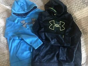 lot 2 Boys size XL LARGE UNDER ARMOUR sweatshirts Hoodies Hooded Blue Neon Green