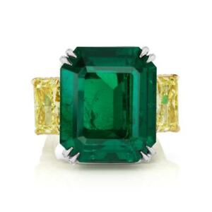 Natural  32.59CT Magnificent NO OIL EMERALD AND DIAMOND PLATINUM RING GIAAGL