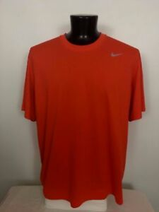 Mens Nike Dri Fit  Polyester T-Shirt  Bright Orange Athletic Fitness - XXL
