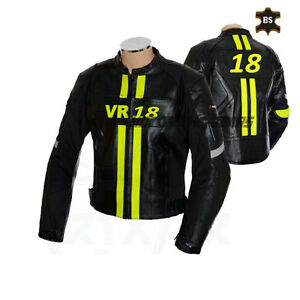 Racing leather jacket vr 18 or any number black motorbike jacket with yellow lin
