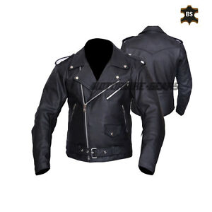 Black arnold style motorbike leather jacket vintage look motorcyle black jacket
