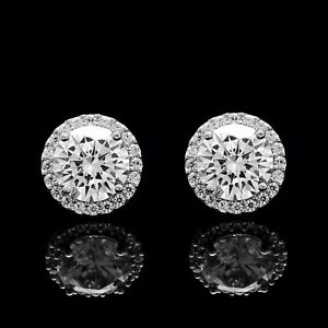 2.00CT Brilliant Created Diamond Halo Stud Earrings 14k White Gold Round VVS1