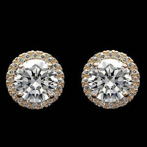 2.00CT Brilliant Created Diamond Halo Stud Earrings 14k Yellow Gold Round Cut