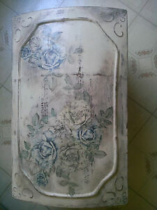 Handpainted wooden box chest trunk aged floral storage decorative Shabby chic $275.00
