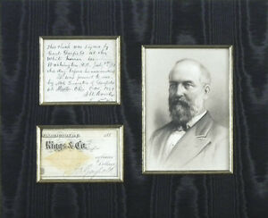 JAMES A. GARFIELD - PARTIAL CHECK SIGNED