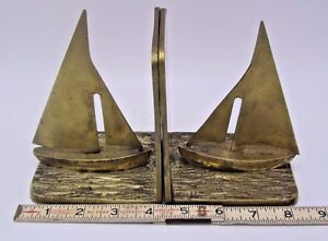 Vintage Sailboats w Ocean Lake Details Nautical Maritime Heavy Brass Bookends $35.51