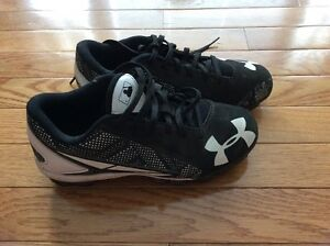 Boys Under Armour NBL Black & White Lace Up Baseball Cleats - Size 3