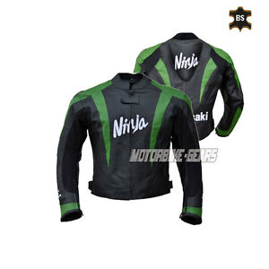 Sport bike leather jacket in black and green lining with ce armours and hump