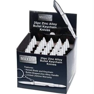 Maxam® 25pc Silver Bullet Keychain Knives in Countertop Display