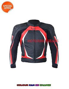 Men Red and black motorbike jacket perforated leather racing jacket with armours