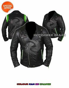 Leather Vintage black Retro Motorcycle Motorbike Armoured Protection Jacket