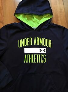 Under Armour Sweatshirt Hoodie Navy Blue Green Boys Youth Size XL