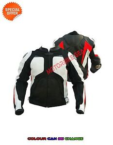 Men black and white motorbike jacket biker boys leather jacket motogp bike gears