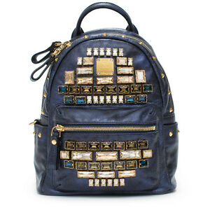 MCM Mini Edeline Navy Blue Metallic Backpack Topaz Gold Leather Handbag Bag New