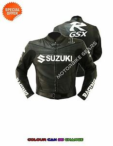 New Black racing leather jacket GSXR racing motorbike jacket ce armoured gears
