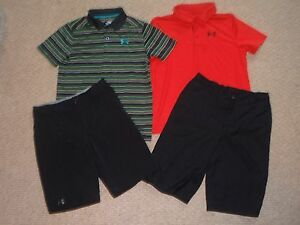 Boys Under Armour YLG L Large 14-16 Polo Golf Shirts Shorts Outfit Lot Red Black
