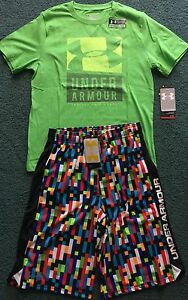 NWT Under Armour L Boys Light GreenBlackMulti Color Minecraft Shorts Set YLG
