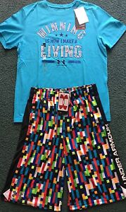 NWT Under Armour L Boys Lt BlueBlackMulti Color Minecraft Style Shorts Set YLG