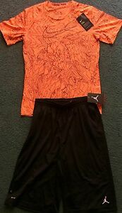 NWT Nike PROJordan Boys YXL BlackNeon Orange Graphic Dri-Fit Shorts Set XL