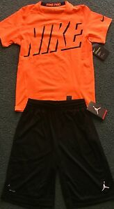 NWT Nike PROJordan Boys YMD BlackNeon Orange Graphic Dri-Fit Shorts Set Medium