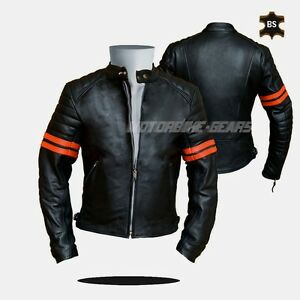 Cruiser leather jacket black leather jacket with orange lining any size bargain