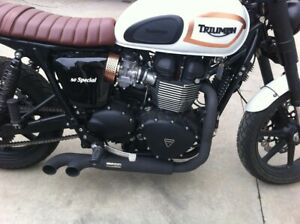 Triumph Bonneville Thruxton MassMoto Exhaust Full System 2in1 Trucker Black New