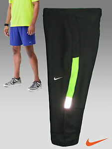 Nike Men's Long Dri-Fit Running Compression Shorts Black & Lime M