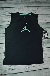 AIR JORDAN JUMPMAN BOYS SLEEVELESS DRI-FIT BLACK GREEN SHIRT LARG