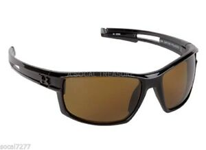 Under Armour Fishing Sunglasses Polarized UA Black Frame Amber Lens Captain Wrap