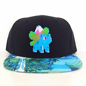 Custom Gamer Ivysaur Bulbasaur Pokemon Anime Cosplay Snapback Hat Widebrim Flora