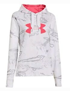 New Womens Under Armour Camo coldgear Hunting Hoodie Large L White Artic pink ua
