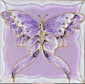 Artisan Painted Night Light Purple Butterfly Stained Glass Lavender Wall Plug In