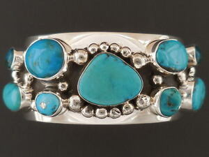 Lone Mountain Turquoise Cluster Bracelet Native American 6 34