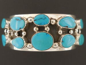 Lone Mountain Turquoise Bracelet Native American Sterling Silver 6 34
