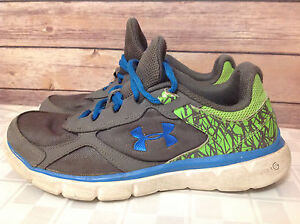 UNDER ARMOUR BOYS YOUTH SZ 6.5 SNEAKER RUNNING SHOES GRAY BLUE NEON GREEN