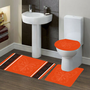 #7 BUTTERFLY ORANGE BANDED BATH MAT COUNTOUR RUG LID COVERBATHROOM 3PC SET