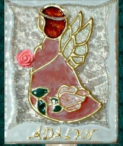 Artisan Personalized Pink Angel Night Light Guardian Stained Glass Wall Plug In