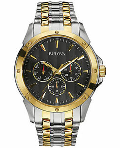 Bulova Classic Men's 98C120 Quartz Black Dial Two-Tone Bracelet 43mm Watch
