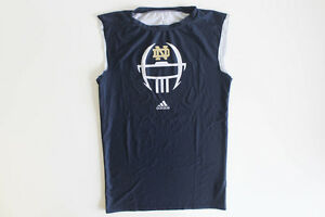 USED adidas N.D. Fighting Irish - Navy Blue DriFit Cut-Off Sleeves Shirt  (2XL)