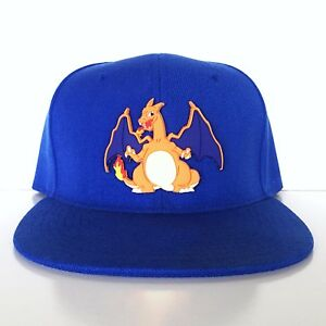 Custom Gamer Charizard Pokemon Fire Anime Cosplay Snapback Hat Widebrim Summer