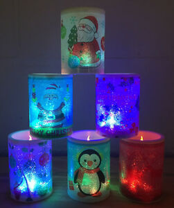 LED Colour Changing Light Up Christmas Candle - Penguin Snowman Santa Reindeer
