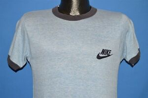 vintage 70s NIKE RAYON TRI BLEND BLUE HEATHERED RINGER SOFT t-shirt SMALL S
