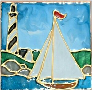 Artisan Painted Sailboat Night Light Stained Glass Nautical Ocean Beach Plug In