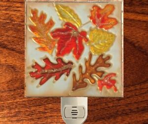 Fall Autumn Thanksgiving Leaf Night Light Stain Glass Decor Wall Plug In