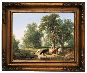 Durand A Summer Afternoon 1849 Wood Framed Canvas Print Repro 11x14