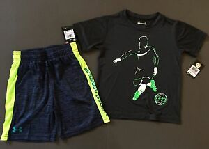 Under Armour kid Boys 2 Piece shirt and shorts Outfit Little Kids Size 6 NWT