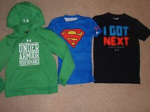 Youth Boy Small 8 Under Armour Fitted Superman Shirt Black Top Green Hoodie Lot