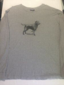 Ralph Lauren Polo Sport Dog Long Sleeve Shirt XXL Rugby Chaps SPELLOUT Vintage